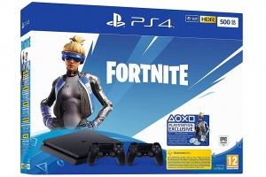 Bild von <b>Amazon</b><br>PlayStation 4 Slim + 2 Controller: Fortnite Neo Versa Bundle</br>