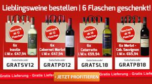 Bild von [Weinvorteil] Lieblingsweine bestellen – 6 Flaschen geschenkt, z.B. 12x Redforth-Chardonnay+6x Picadoro Cabernet Merlot für 47,88€ inkl. Versand statt 203,76€