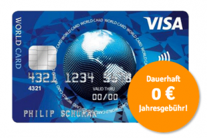 Produktbild von Visa World Card. Dauerhaft 0 € Jahresgebühr!