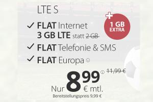 Produktbild von Premium LTE S = Internet Flat 3+1 GB + Flat Telefonie & SMS + Flat Europa =8,99€