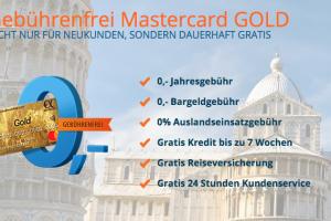 Produktbild von Gebührenfrei Mastercard Gold + 0€ Jahresgebühr + 0€ Bargeldgebühr + 0€ Auslandseinsatzgebühr + Gratis Kredit für 7 Wochen + Gratis Reiseversicherung + Gratis Kundenservice