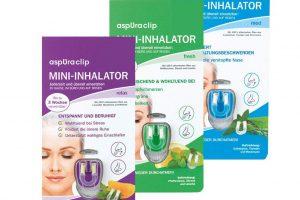 Produktbild von ASPURACLIP Mini Inhalator Medizinprodukt mit 100% ätherischen Ölen 3er-Pack