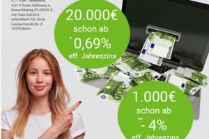 Produktbild von Mehr als nur Gratis Kredit! -4% Zinsen – Jetzt Kredit von 1000€  sichern und 995,84€ zurückzahlen!