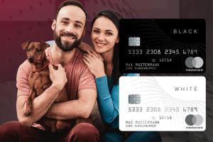 Produktbild von Die Black & White Prepaid Mastercard – 2 für 1! Spare jetzt bis zu 65% – Ohne Schufa Check
