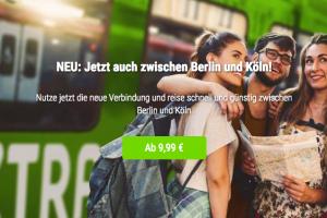Produktbild von Juhu FlixTrain fährt ab jetzt auch zwischen Berlin und Köln! Tickets ab 9,99€