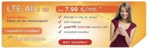 Bild von SimDiscount LTE All 3GB Allnet Flat nur 7,99€ (monatlich kündbar)