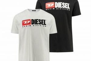 """Produktbild von Diesel Herren T-Shirt """"Division"""" Weiss Schwarz"""