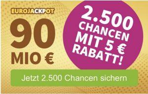 Bild von 25% Rabatt auf den Eurojackpot Systemschein mit 2500 Tippreihen – auch für Bestandskunden