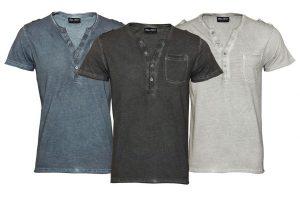 Bild von Pablo Malone by Poolman Herren-T-Shirt Henley mit Knopfleiste in Schwarz, Blau oder Hellgrau
